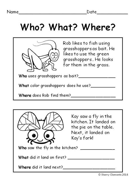 summer bugs reading comprehension who what where kids activities reading comprehension