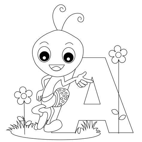 animal alphabet letter a coloring child coloring