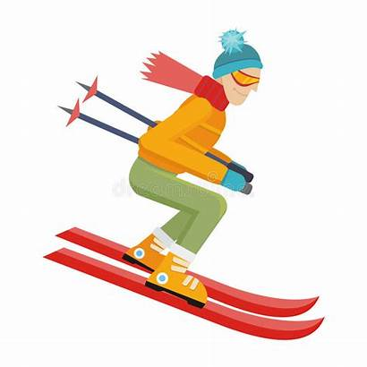 Skiing Skier Person Ski Isolated Cartoon Winter