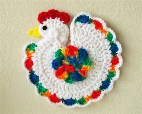 crochet chicken rooster bird rainbow pot holder potholder