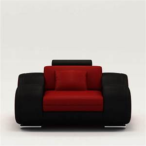 deco in paris 1 fauteuil cuir relax design rouge et noir With fauteuil design relax