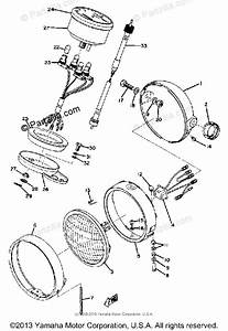 Yamaha Motorcycle 1974 Oem Parts Diagram For Headlight