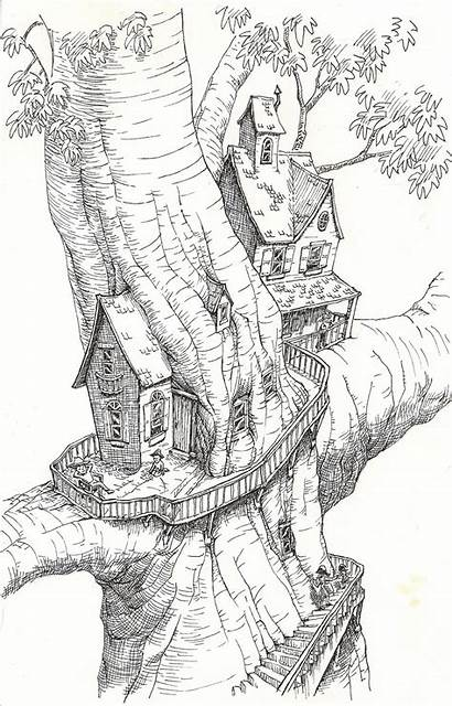 Coloring Tree Pages Treehouse Drawing Drawings Magic