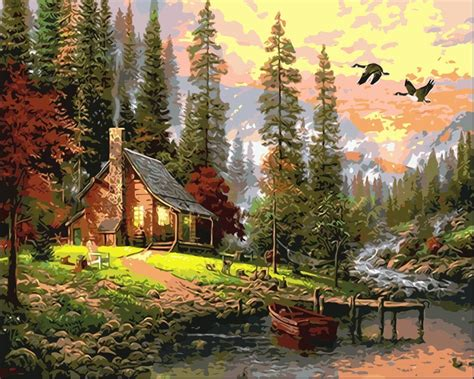diy oil painting  canvas digital  numbers drawing home decor craft frameless  forest hut