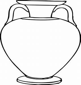 Flower Outlines for Coloring | Large Vase clip art ...