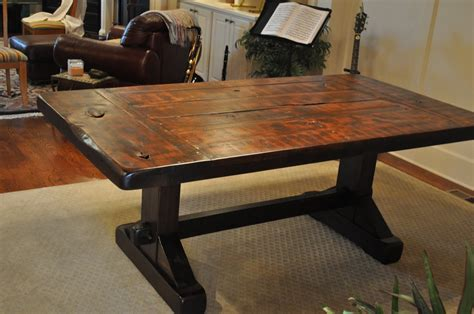 Rustic Dining Table by The Emerson Rustic Trestle Dining Table Atlanta