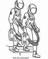 Mission Coloring Space Astronauts Ready Template Astronaut sketch template