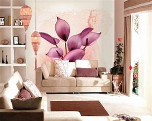 tapetenmuster mit blumenmotiven schone wandgestaltung ideen With balkon teppich mit wohnzimmer 3d tapeten
