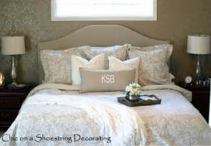master bedroom bedding chic on a shoestring decorating neutral master bedroom reveal