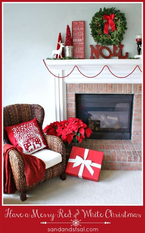 Red and White Christmas Mantel   Sand and Sisal