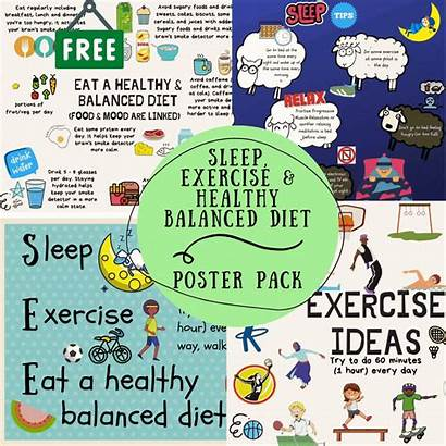 Sleep Exercise Diet Poster Healthy Balanced Pack