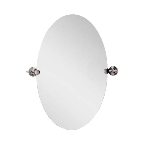 deco mirror 28 in l x 22 in w polished edge oval chrome