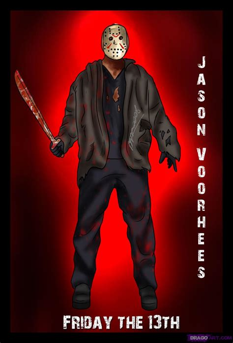 How To Draw Jason Voorhees Step By Step Movies Pop