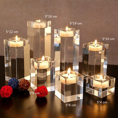 Awesome centerpieces for dining room table. 3PCS/SET Dining Table Solid Crystal Candlestick ...