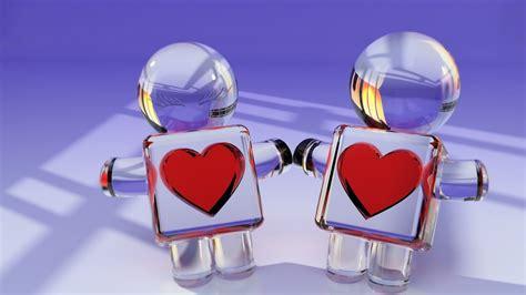 hd glass love heart couple toys wallpaper