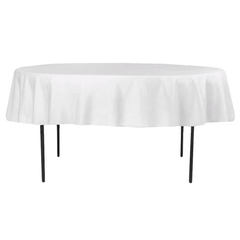 "Economy Polyester Tablecloth 90"" Round White CV Linens"