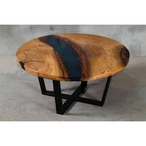 You will see light oak. Aria VI oak and dark blue resin coffee table - Modern Wood ...