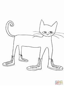 Pete The Cat I Love My White Shoes Coloring Page Free