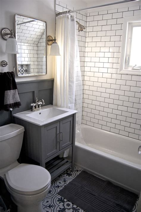 White Subway Tile Bathroom Ideas by Small Grey And White Bathroom Renovation Update Subway