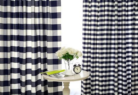 Navy Blue Buffalo Check Custom Handmade Plaid Curtain Accordion Shower Curtain Solid Coral Curtains Nautical Rope Tie Backs High Yellow And Gray Striped White Window For Bedrooms Polyester Sheer