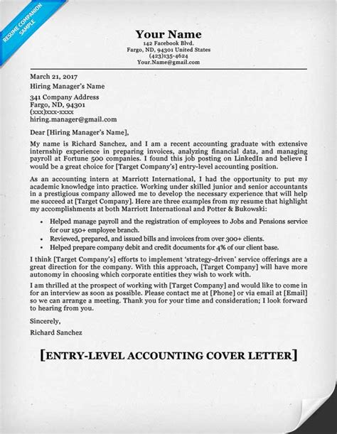 Entry Level Accounting Cover Letter entry level accounting cover letter tips resume companion