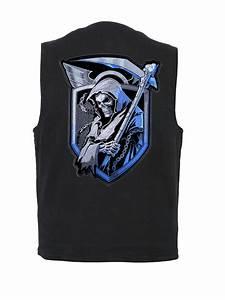 Mens Concealed Carry Denim Vest With Grim Reaper Skull