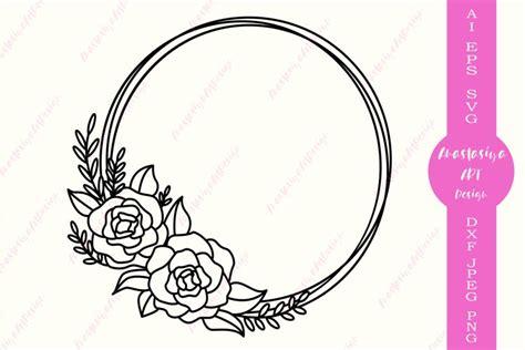 circle monogram floral frame svg cut file flower wreath dxf  cut files design bundles