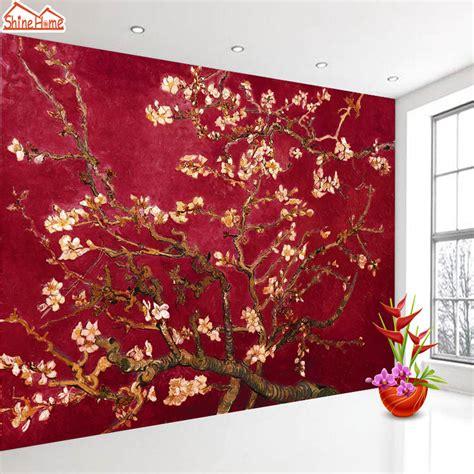 shinehome red van gogh almond blossom painting wallpaper