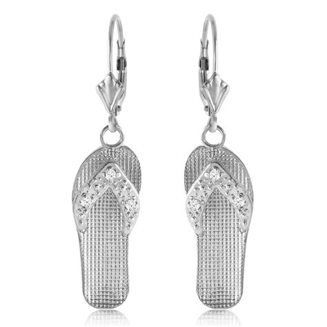 0 04 carat 14k solid white gold shoes leverback earrings