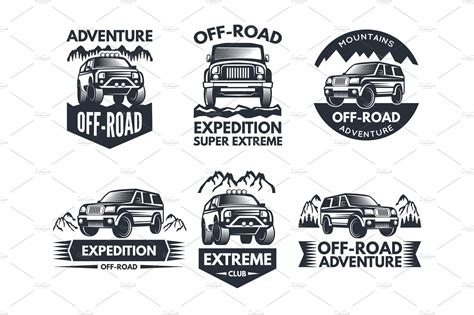 Off Road Symbols. Labels With 4x4 Truck. Logos Or Labels