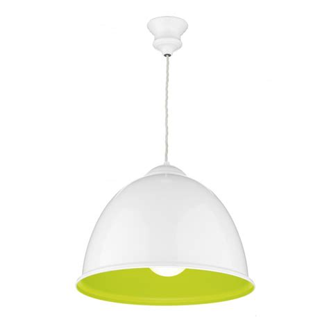 metal ceiling pendant light painted white and green for