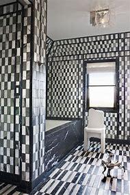 Black and White Marble Tile Bathroom