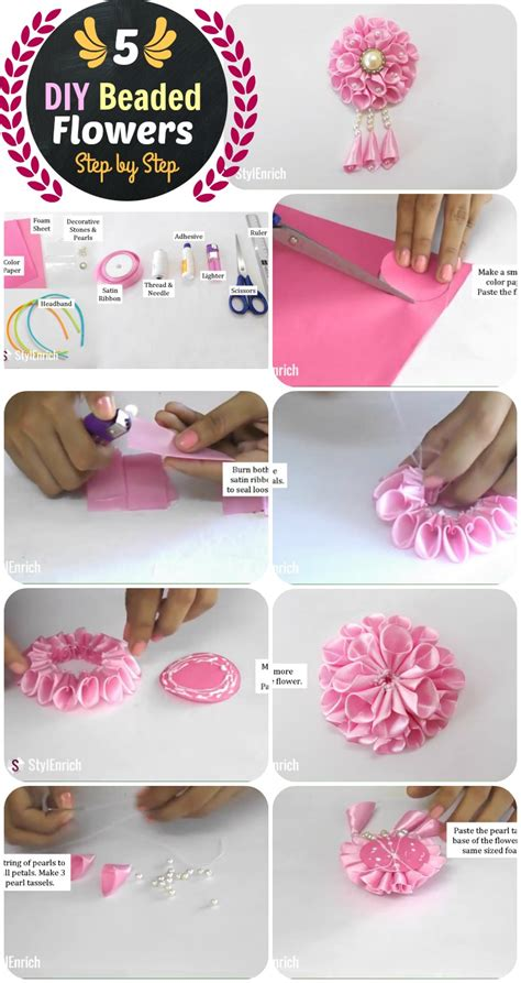 diy 5 flower headband and beaded crown step by step with