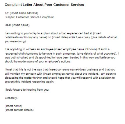 complaint letter poor customer service sample