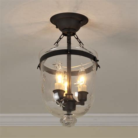 mini smokebell semi flush ceiling lantern 4 finishes