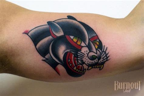 arm  school panther tattoo  burnout ink