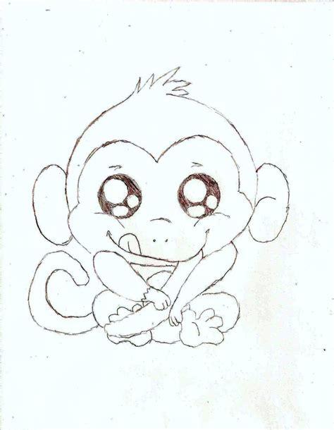 drawn baby animal cute monkey pencil   color drawn