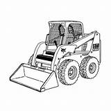 Coloring Bobcat Plow Pages Snow Truck Clipart Equipment Skid Loader Printable Skidsteer Trucks Steer Monster Construction Clip Drawing Tractor Sketch sketch template