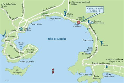 Mapa de Ubicacion Hotel Calinda Beach Acapulco, Acapulco ...