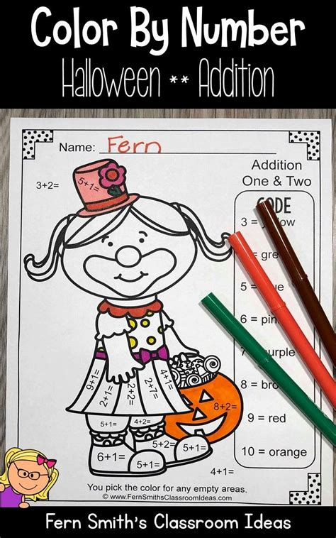 halloween color  number addition  images
