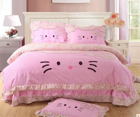 pink hello kitty queen size bedding lace princess bed