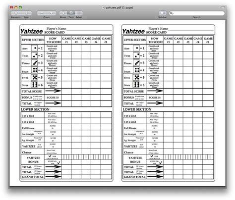 printable yahtzee score sheets yahtzee score card