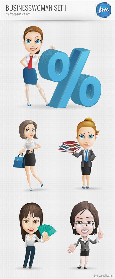 businesswoman vector character set   psd files