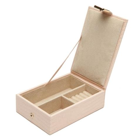 wolf designs travel jewelry box  blush leather