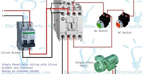 single phase motor wiring  contactor diagram