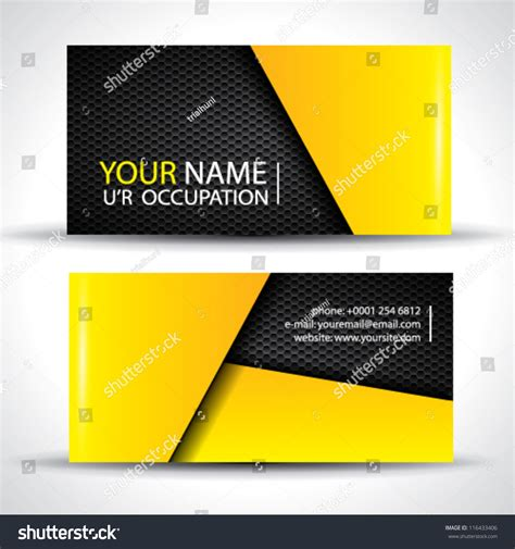 modern business card yellow black colors stock vector
