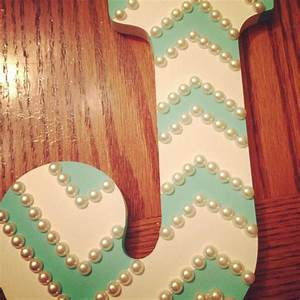 wooden letter painters tape aqua paint and pearls With letters to paint on wood