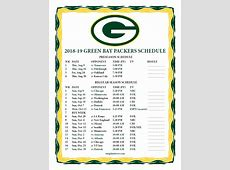 Printable 20182019 Green Bay Packers Schedule