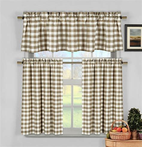 taupe beige gingham checkered plaid kitchen tier curtain