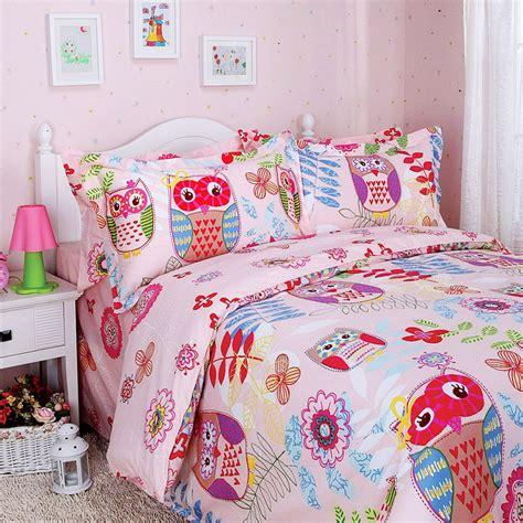 owl comforter set colorful mart happy forest pink owl duvet cover set owl